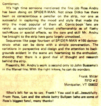 frank miller letter to spider-man