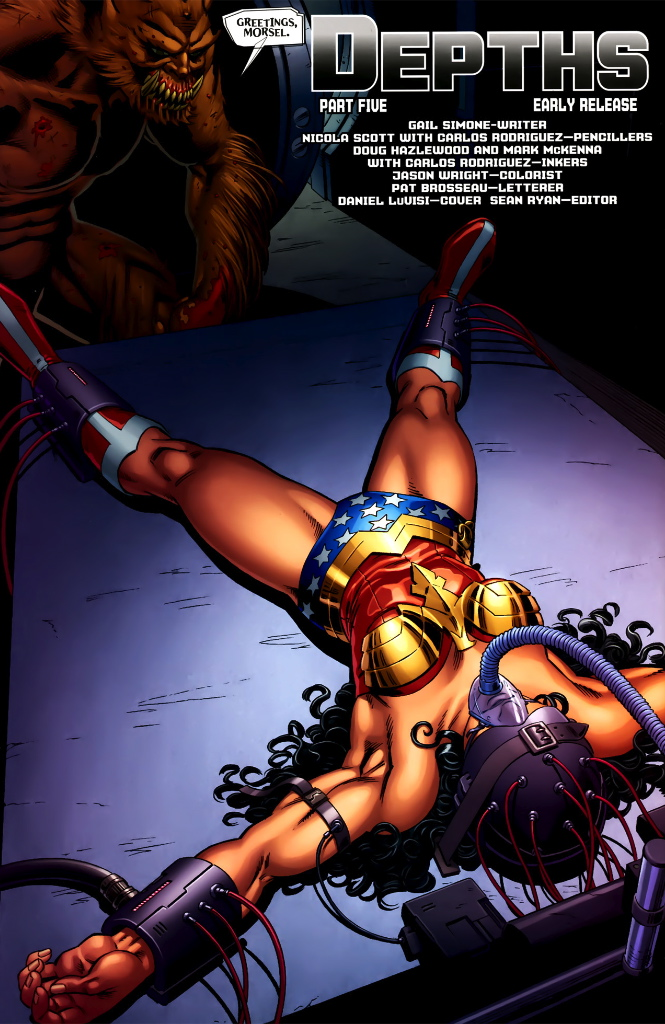 wonder woman in bondage scene