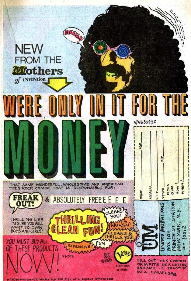 frank zappa comic book ad