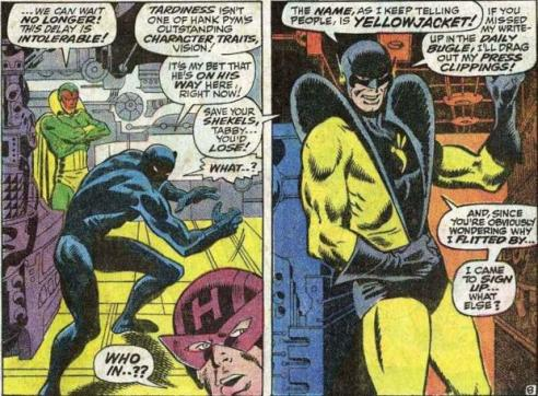 First appearance of Yellow Jacket, from Avengers #59 by Roy Thomas and John Buscema.