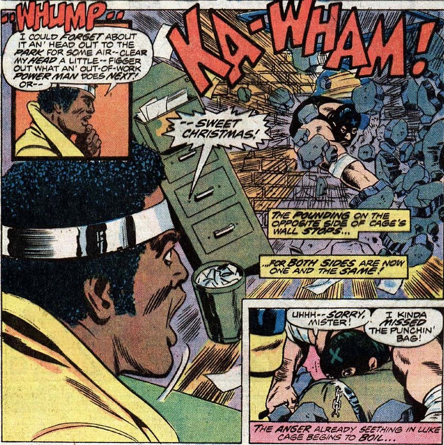 the story is fairly benign but according to one of my favorite comic news sites this is the first time luke cage said sweet christmas