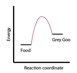 "Figure 2: Plot of a reaction where Food and a large energy input is needed to create Grey Goo. ""Reaction coordinate"" means that as time passes, Food reorganizes its chemical bonds and turns into Grey Goo (reading left to right along the x-axis)."