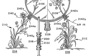 Headspace technology enables accurate identification of the fragrant molecules in a flower's aroma. (Credit: U.S. Pat. no. 5,269,169 Fig A.)