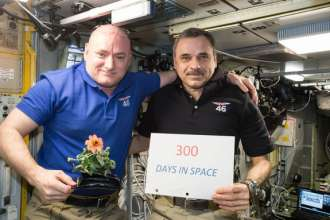 Astronaut Scott Kelly (right) and cosmonaut Mikhail Kornienko (left) pose during their 300th day aboard the ISS. [Public Domain] via NASA.