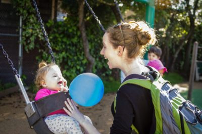 Matar Haller enjoys time with her baby. Image: Daniel Lurie