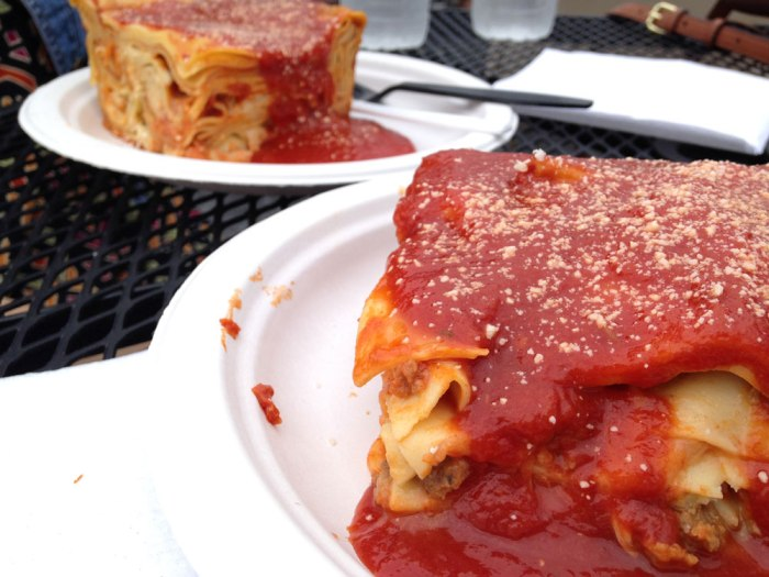Bad day for my diet, good day for my stomach. St. Marco's lasagna is the best.