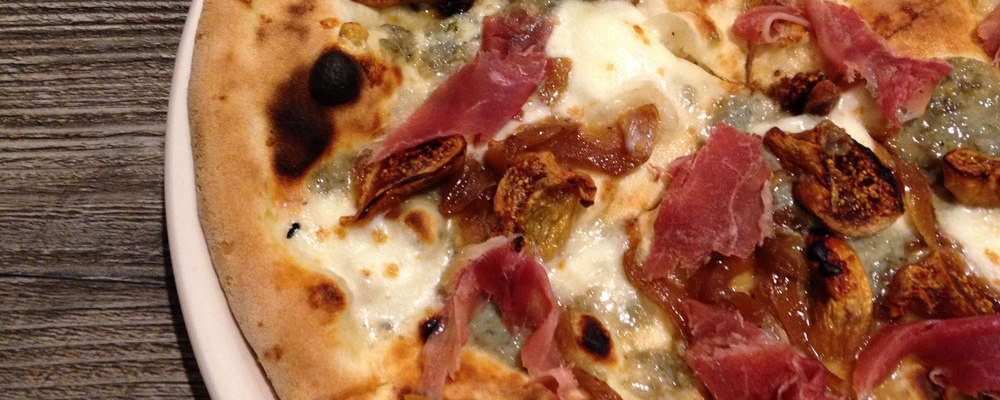The Aime pizza was topped with gorgonzola, prosciutto, caramelized onions and figs.