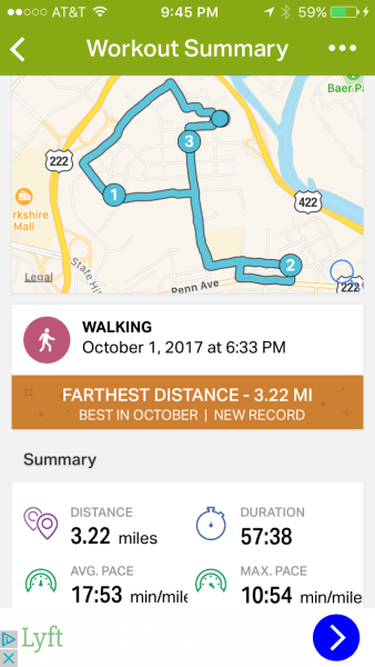Sunday's walk: 3.22 miles in 57 minutes.