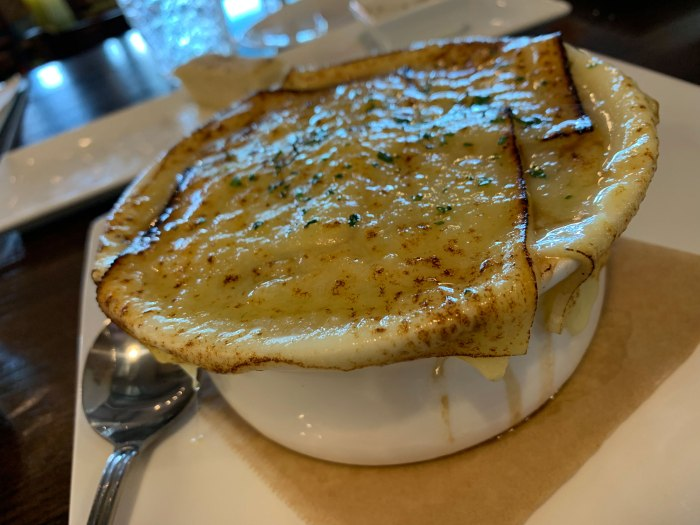 B2 offers an oversized bowl of French onion soup