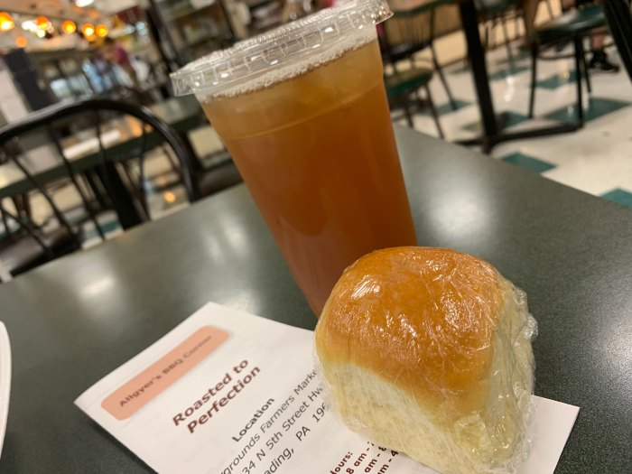 Meals at Allgyer's are served with a dinner roll. They also offer fresh-brewed sweet tea.