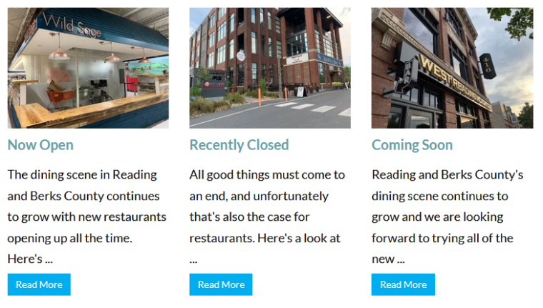 A screenshot of the food news page on the website showing links for now open, coming soon and recently closed pages