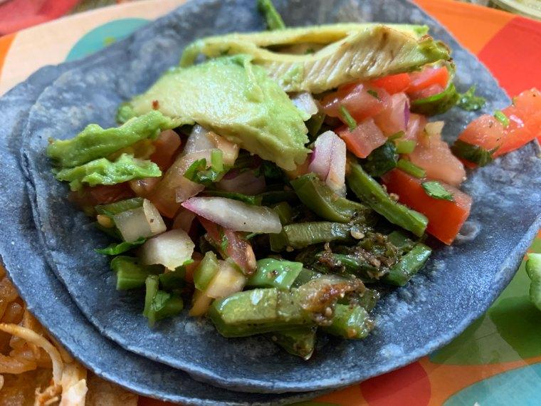 el nopal taco with grilled cactus, avocado and pico de gallo from Comalli Taqueria