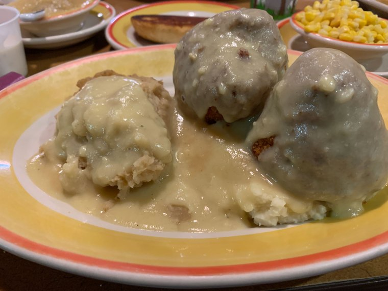 Two chicken croquettes and a side of potato filling, smothered in gravy, from Temple Family Restaurant