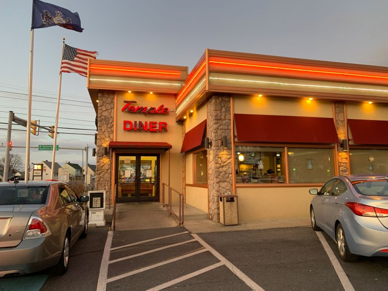 A view of the entrance to Temple Family Restaurant.