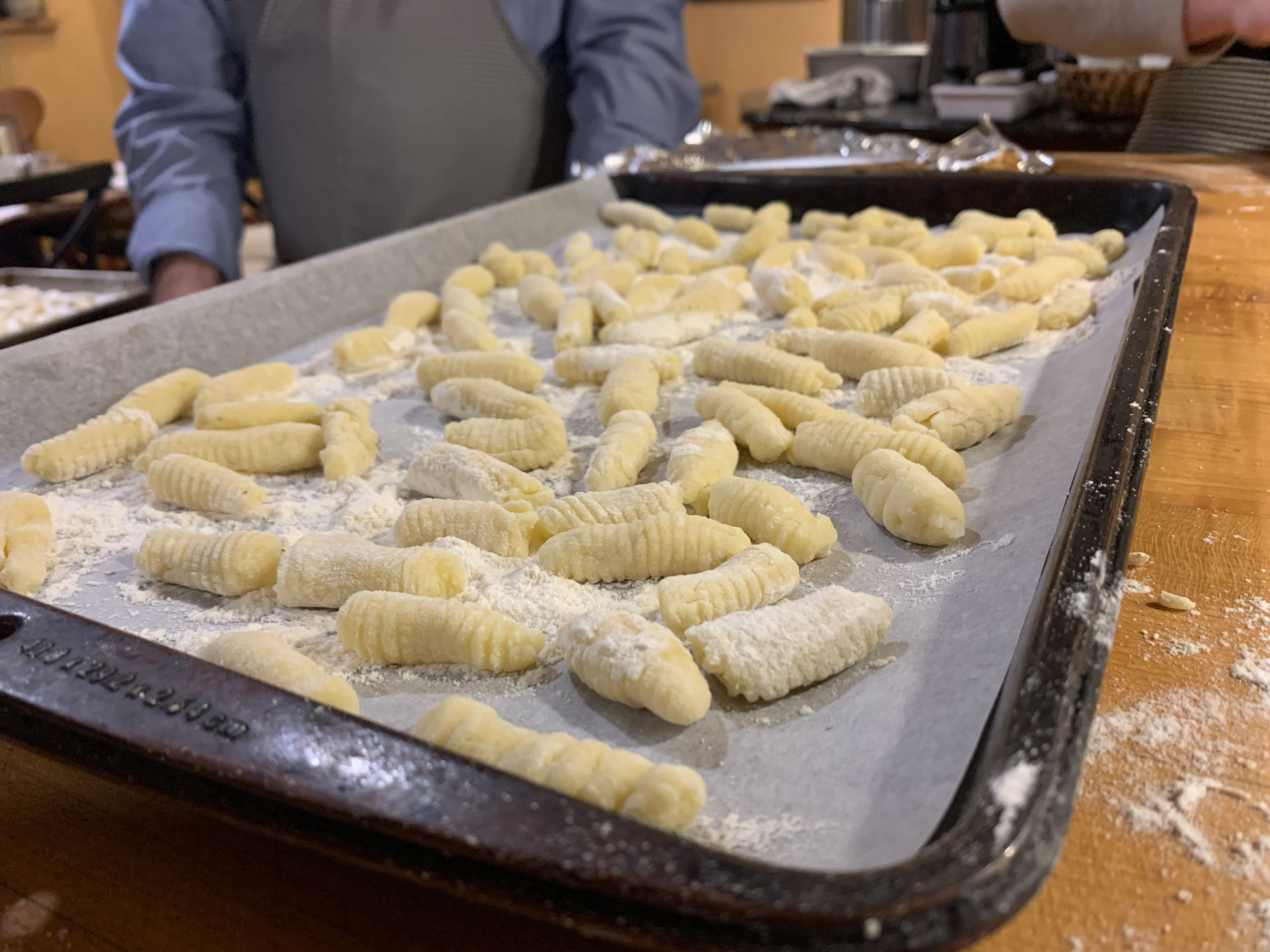 A tray of freshly rolled potato gnocchi