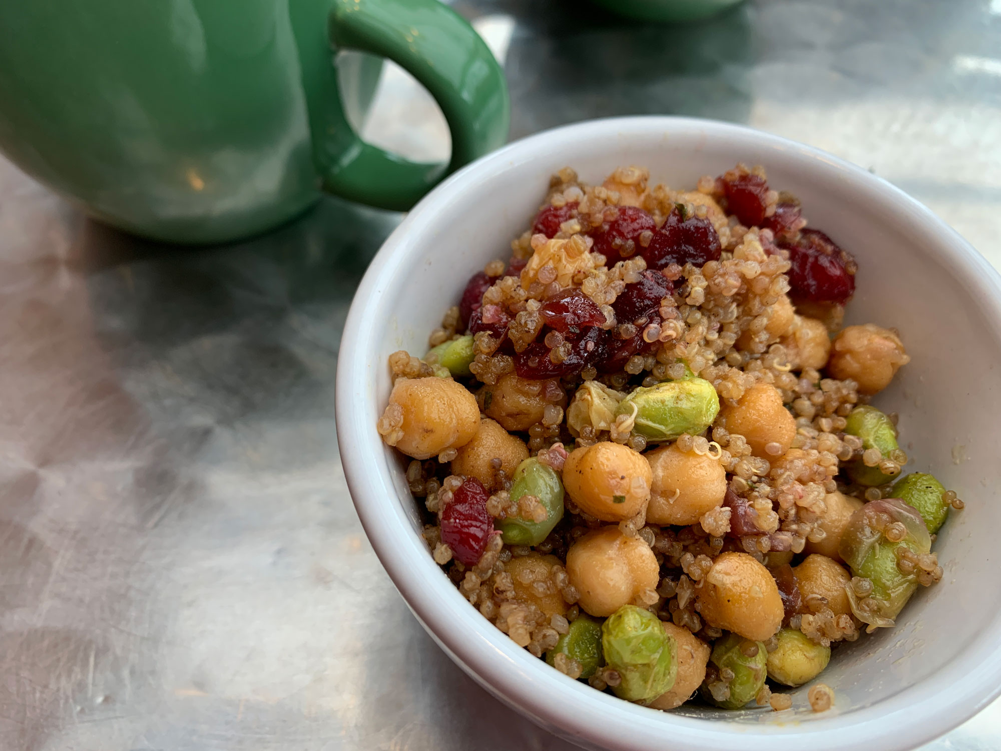 A bowl of edamame, quinoa, chickpeas and cranberry from the Greenhouse Cafe
