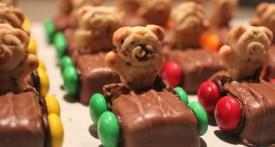 chocolate bar race cars, teddy bear cars, car themed birthday party food, 4th birthday party food, 3rd birthday party food