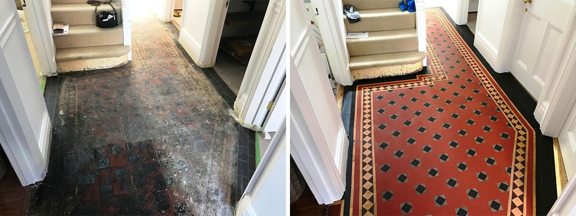 Bitumen Covered Victorian Floor before and after Restoration Caversham Reading