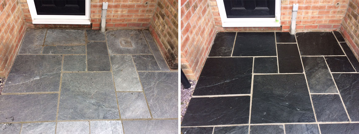 Exterior Slate before and after Renovation Thatcham