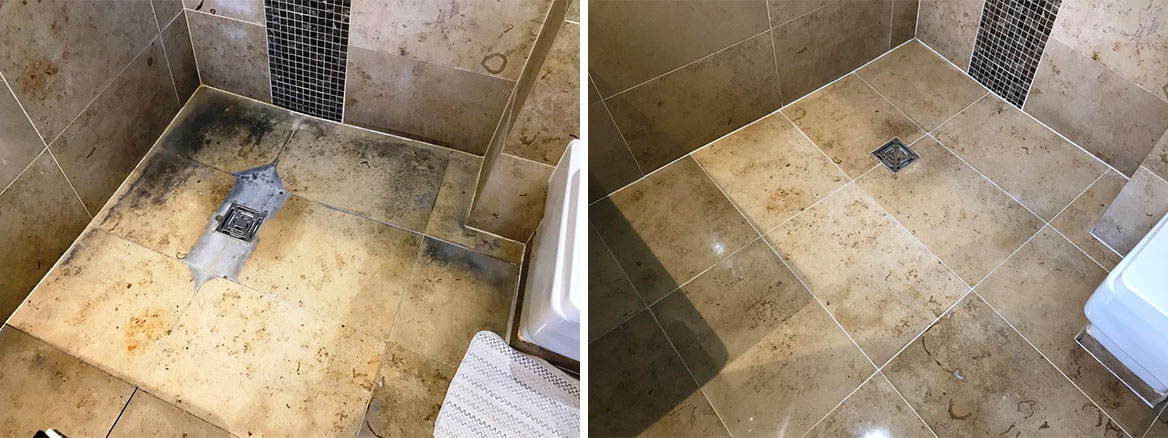 Limestone Shower before and after Renovation Sonning Eye