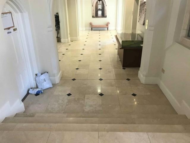 Douai School Travertine Floor After Cleaning Upper Woolhampton
