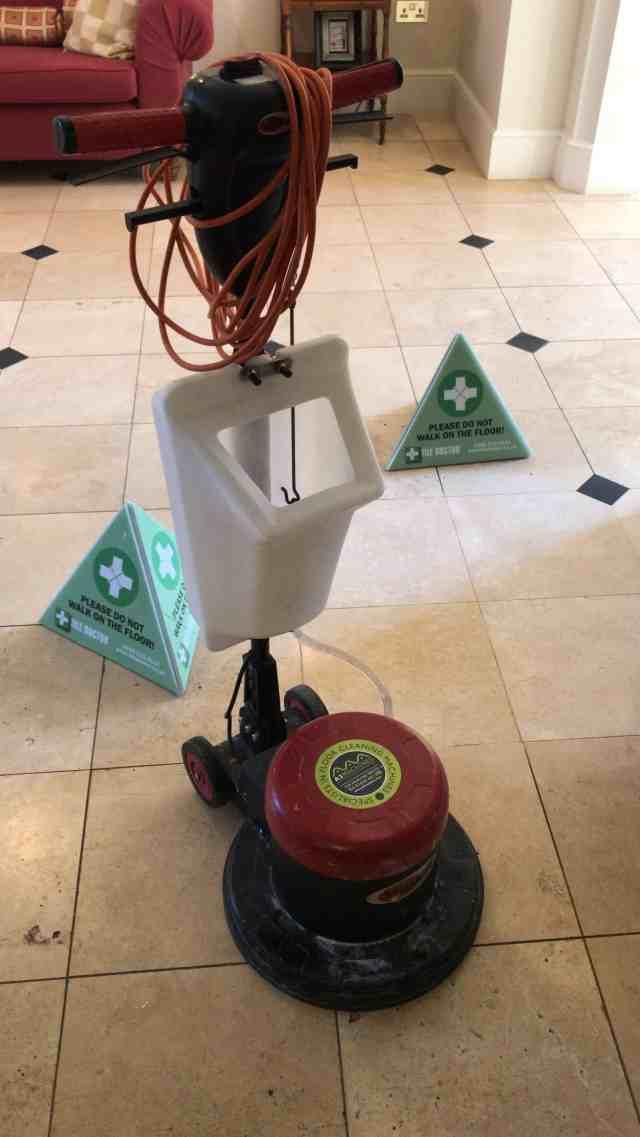 Douai School Travertine Floor During Cleaning Upper Woolhampton