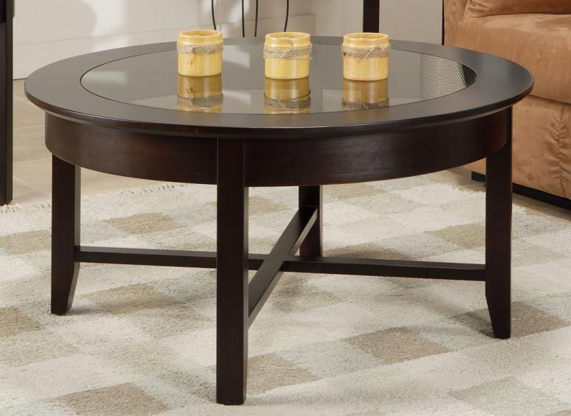 demilune 36 inch round coffee table w glass top