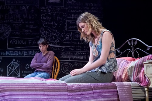 Arielle Lever (left) and Jess Jacobs (right) in the Berkshire Playwrights Lab's workshop production of Anna Ziegler's Life Science, which will run through June 30 at Bard College at Simon's Rock Daniel Arts Center. Photo by Christina Lane