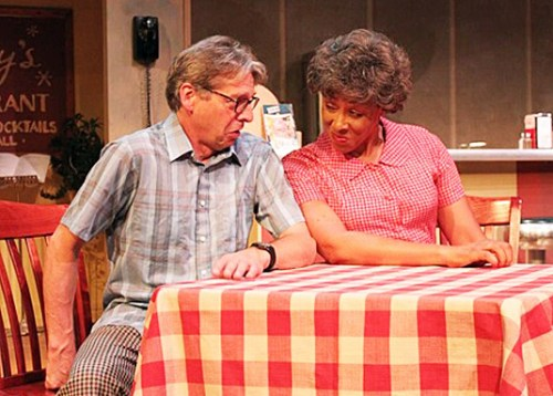 Actors Richard Howe and Cheryl Howard in Northern Boulevard, running through July 21 at Oldcastle Theatre.