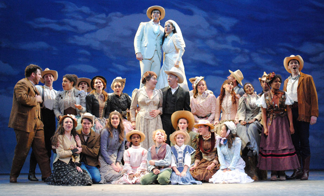 An existential wedding cake  finale with the entire cast of Oklahoma!  Photo Credit Abby LePage