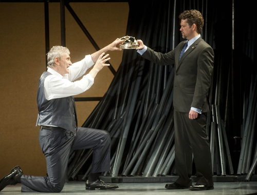 Rocco Sisto (l) as Richard  and Tom O'Keefe as Bollingbroke/Henry in Richard II at Shakespeare & Company. Photos by Kevin Sprague.