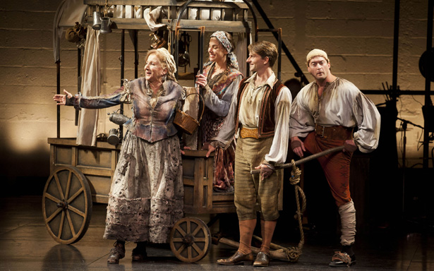 (l-r) Olympia Dukakis, Brooke Parks, Ryan Winkles, and Josh Aaron McCabe. Photo by Kevin Sprague.