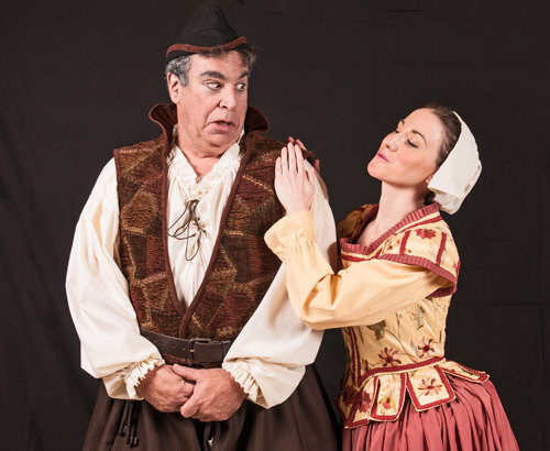 Wilfred Shadbolt (head jailer and assistant tormenter) and Phoebe Meryll (daughter of Sergeant Meryll), played by Michael Budnick and Kate Saik.