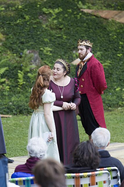 (l to r) Ally Allen as Ophelia, Concetta Russo as Gertrude and Colin Gold as Claudius. Photo by Elizabeth Aspenlieder.