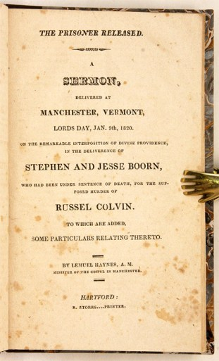 The title page of Haynes pamphlet on the Boorn/Colvin trial.