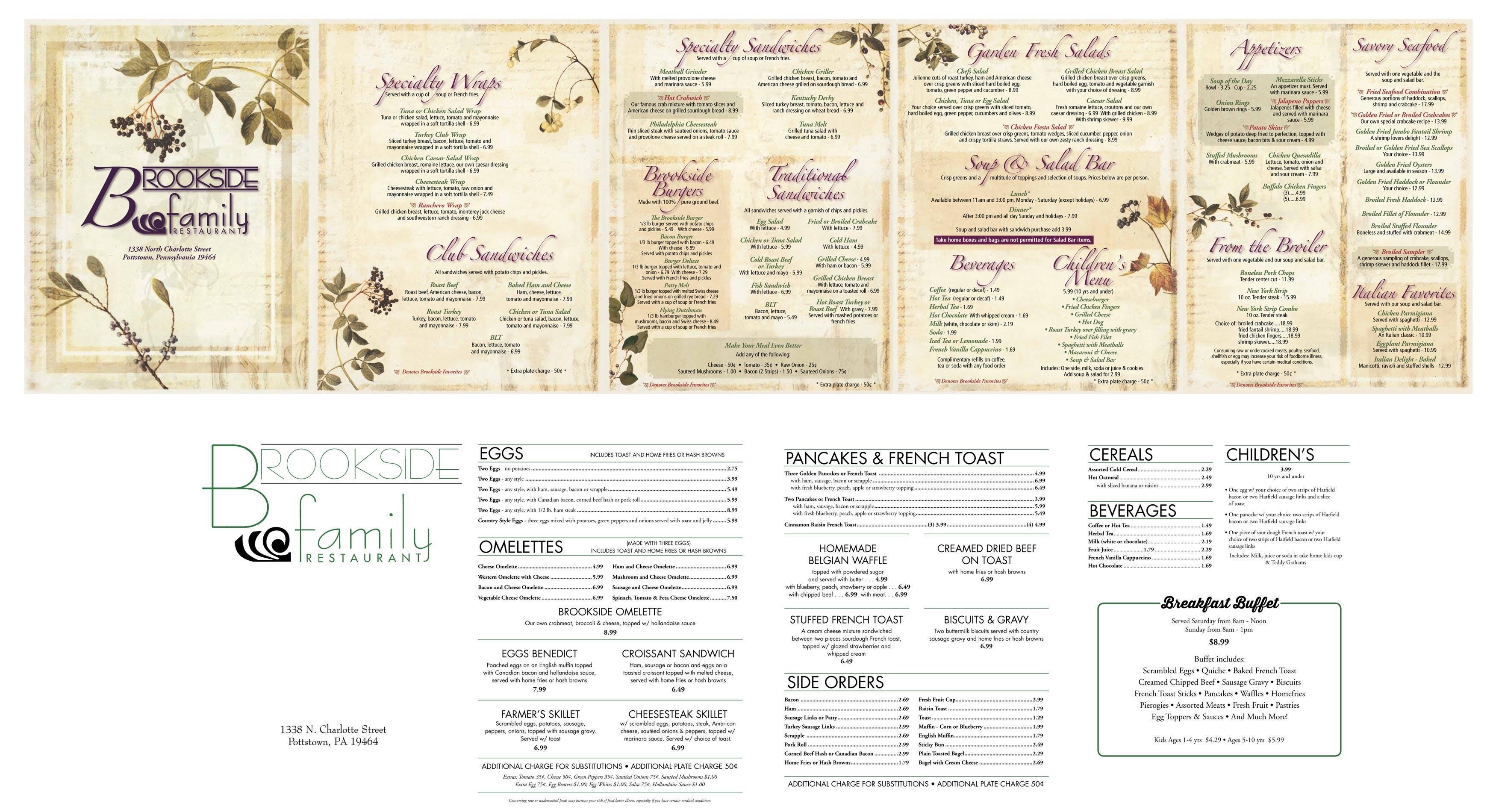 Brookside Family Restaurant Menu