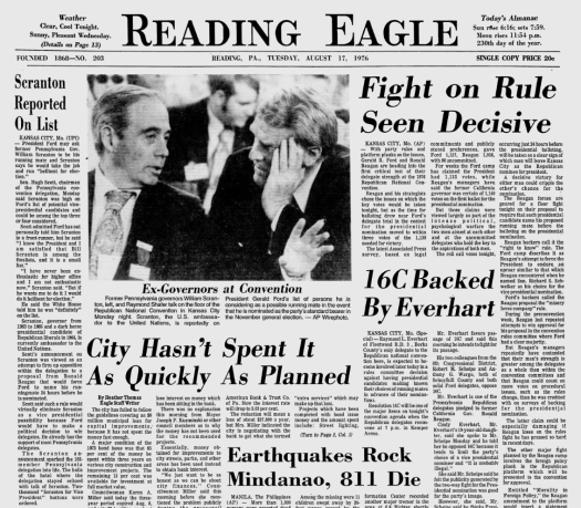 Reading Eagle front page 1976
