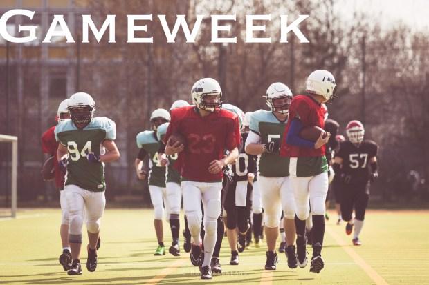 zeigt joggende Footballer mit dem Schriftzug Gameweek