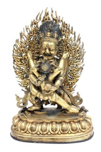 Feuervergoldete Bronze des Yamantaka Tibeto-Chinesisch, 1. Hälfte 19. Jahrhundert