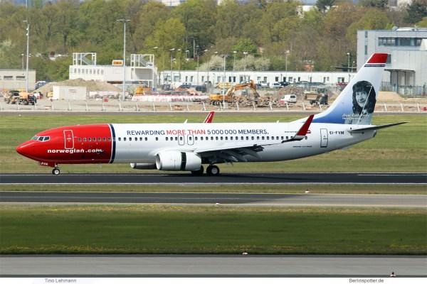 Norwegian, Boeing 737-800(WL) EI-FVM, Anne-Catharina Vestly im Tail (SXF 26.4. 2017)