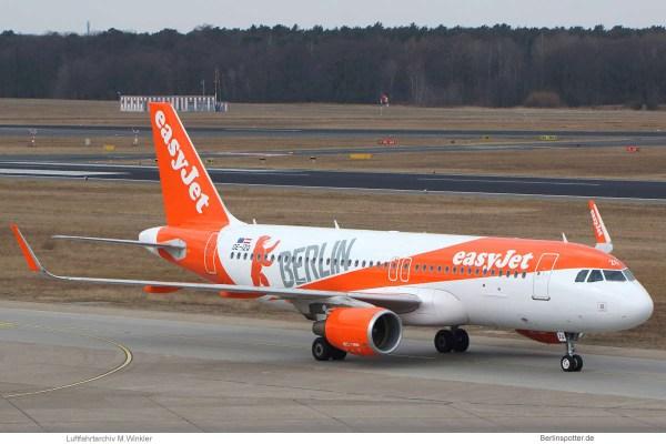 easyJet Europe, Airbus A320-200(SL) OE-IZQ, mit Berlin-Sticker (TXL 28.3. 2018)