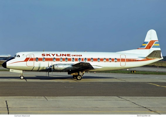 Skyline Sweden, Vickers Viscount 800 SE-FOX (SXF 25.9. 1977)