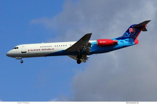 Slovak Gvmt., Fokker 100 OM-BYC (TXL 27.8.2020)