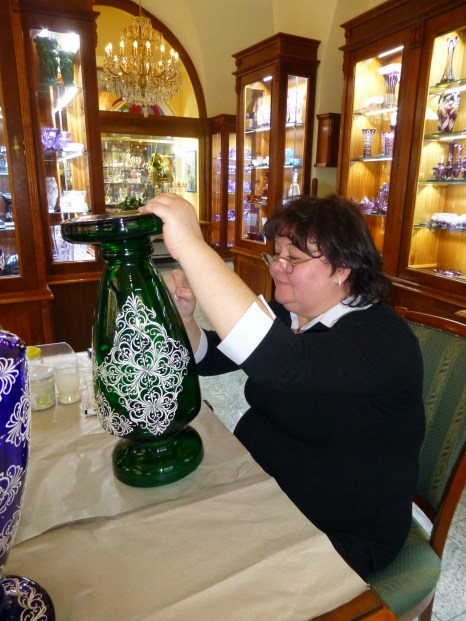 Bohemian crystal being decorated at Erpet Crystal.