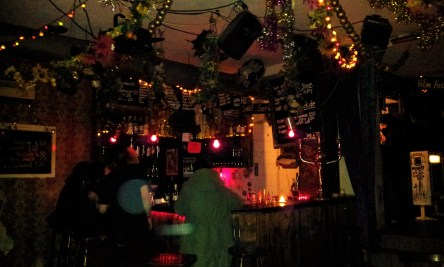 The corner of the bar with flash