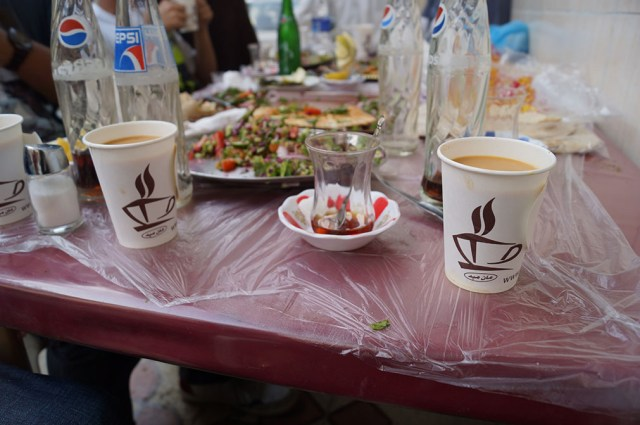 Turkish tea, Yemeni tea and the salad is what I believe is called Tabbouleh?
