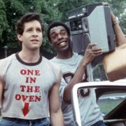 "Steve Guttenberg and Michael Winslow in ""Police Academy"""
