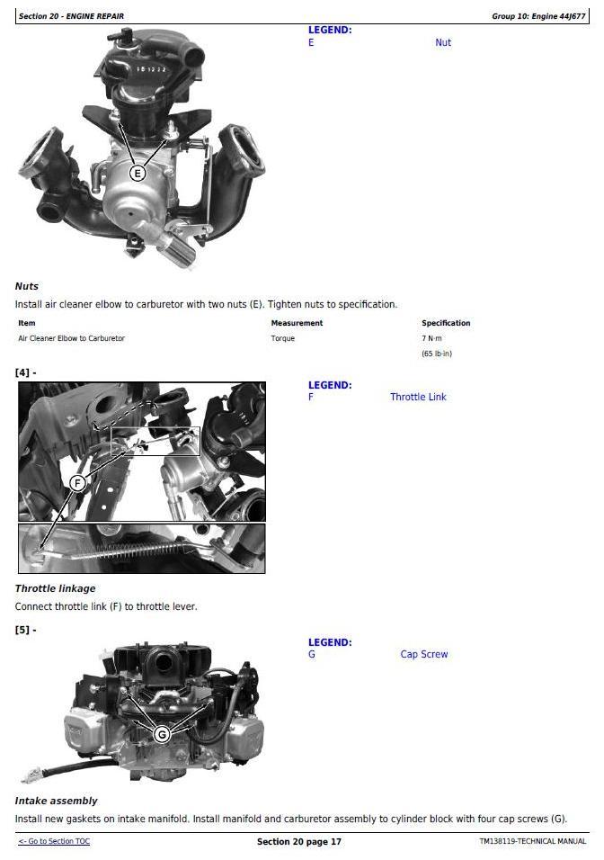 John Deere X330, X350, X354, X370, X380, X384, X390, X394