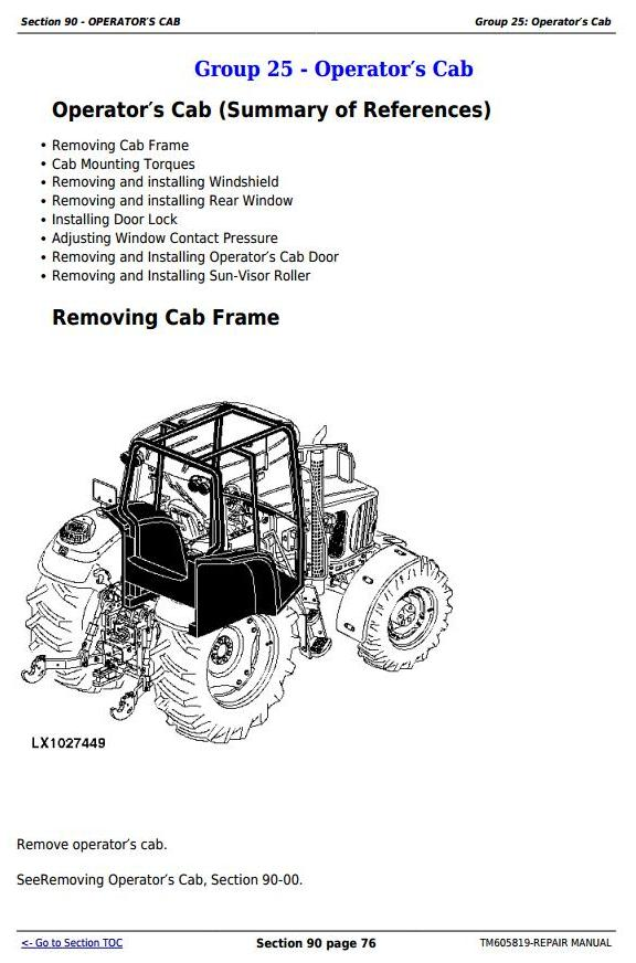 John Deere 7425, 7525, 6140J, 6155J, 6155JH Tractors