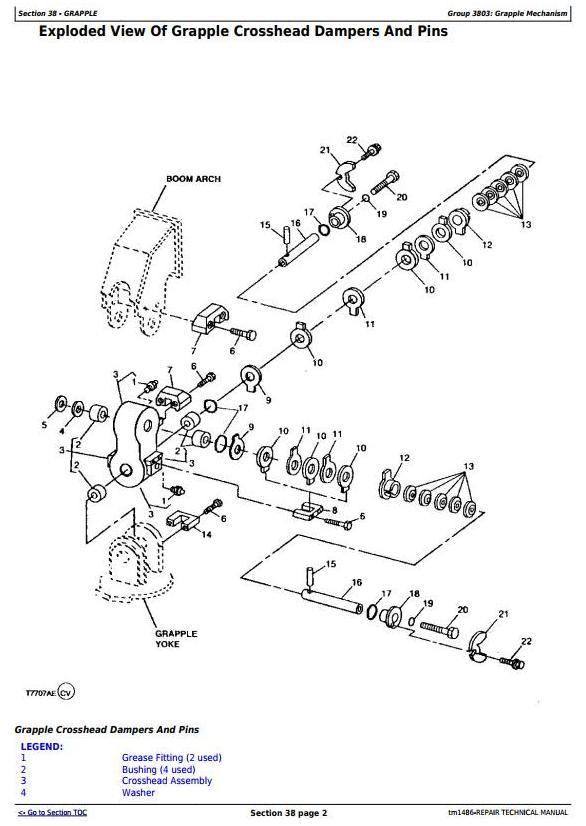 John Deere 540E, 640E, 740E Cable Skidder; 548E, 648E